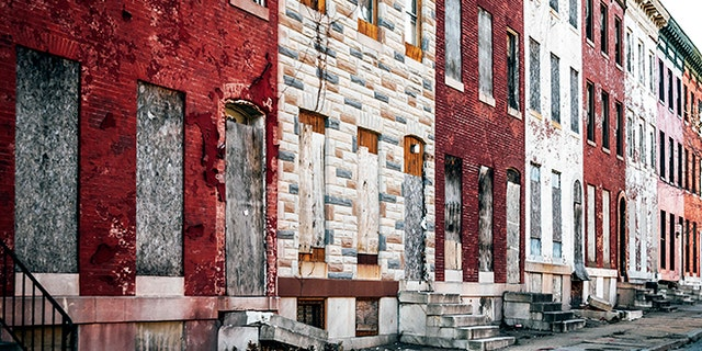 Abandoned buildings. West Baltimore, Maryland.
