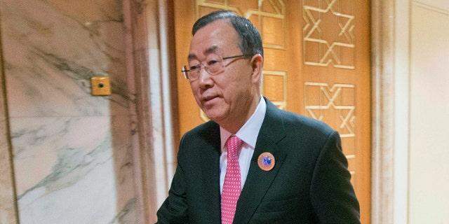 FILE: Jan. 15, 2014: United Nations Secretary General Ban Ki-moon at Bayan Palace in Kuwait City, Kuwait.
