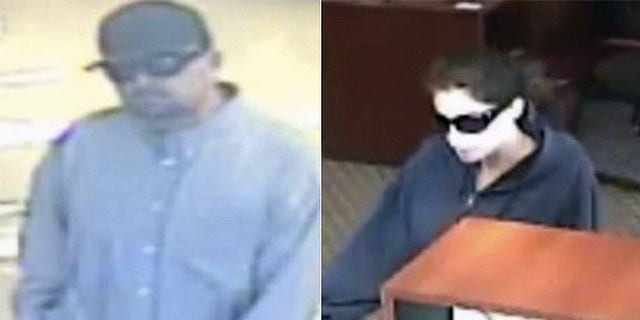 These images taken from surveillance footage show the so-called 'Criss-Cross Bandits'.