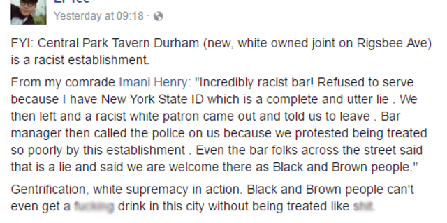 Imani Henry's comment, according to activist Ngoc Loan Tran who was arrested last month.