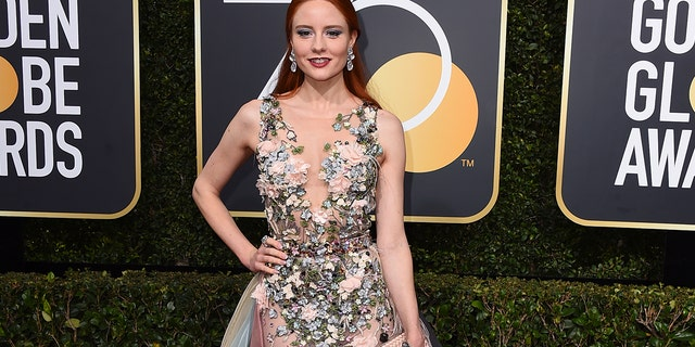 Barbara Meier arrives at the 75th annual Golden Globe Awards at the Beverly Hilton Hotel on Sunday, Jan. 7, 2018, in Beverly Hills, Calif.