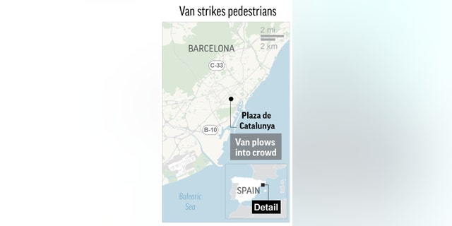 Barcelona police, in a tweet, told people to stay away from the center of the city.
