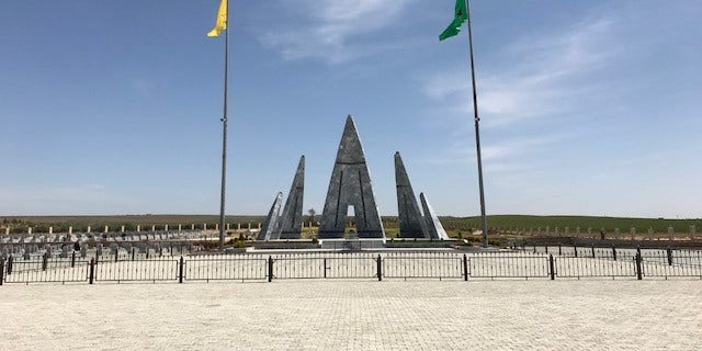 Monument for the missing fighters constructed in Kobani, Syria.