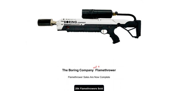 The Boring Company 'Not a Flamethrower' (Screenshot from www.boringcompany.com)