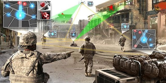 Illustration picture of how a drone swarm could help troops (Raytheon)