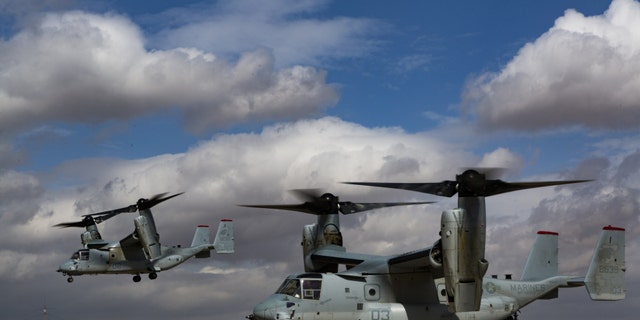 File photo - MV-22B Ospreys with Special Purpose Marine Air-Ground Task Force – Crisis Response – Central Command take off after offloading Marines at the King Abdullah II Special Operations Training Centre (KASOTC) as part of a long-range quick reaction force exercise February 26-27, 2018.