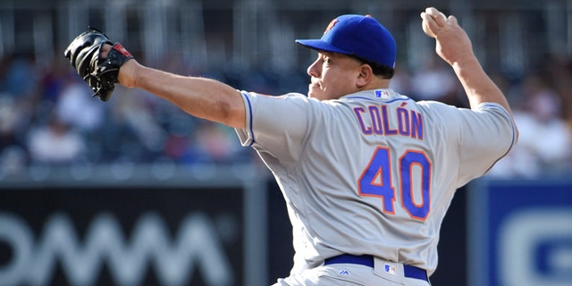 SAN DIEGO, CALIFORNIA - MAY 7:  Bartolo Colon #40 of the New York Mets pitches during the first inning of a baseball game against the San Diego Padres at PETCO Park on May 7, 2016 in San Diego, California.  (Photo by Denis Poroy/Getty Images)
