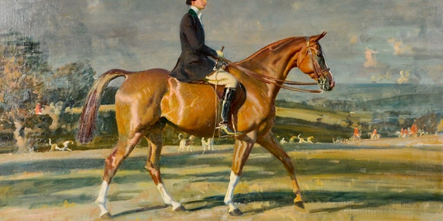 This painting of Baruch astride her prized show-jumper, Souriant III, is valued at more than $1 million.