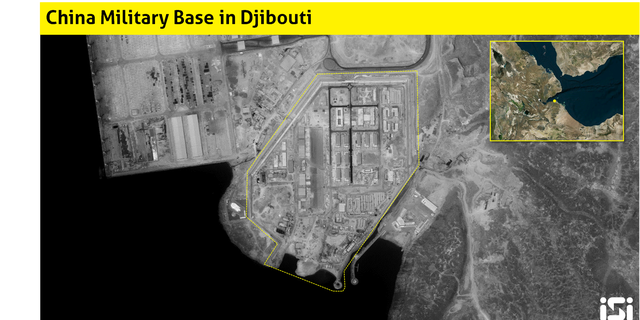 Satellite images of construction of a Chinese military base in Africa.