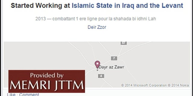 "In a check-in on Facebook, Aggad states that he was in the Syrian city of Deir Ez-Zor working for the Islamic State in 2013 ""fighting in the front line for martyrdom."" (MEMRI)"