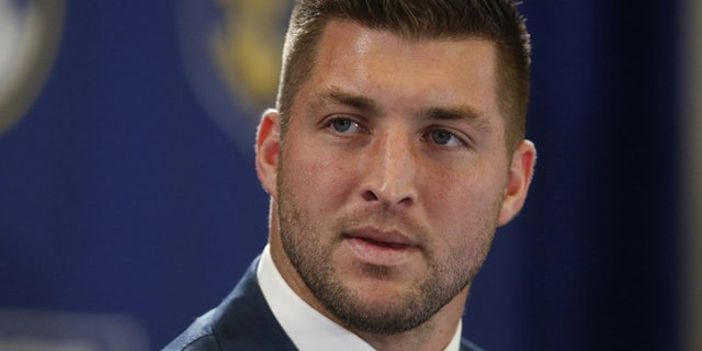 Dec. 5, 2014: File photo, Tim Tebow speaks during an SEC television broadcast in Atlanta.