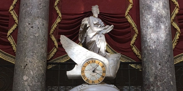 A statue of Clio leads from Statuary Hall to the Speaker's Office and the Rotunda.