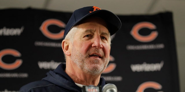 Chicago Bears head coach John Fox talks to the media after an NFL football game against the Cleveland Browns in Chicago, Sunday, Dec. 24, 2017.