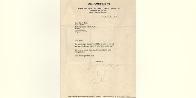 Th e letter signed by the Beatles that was sent to Atlanta DJ Paul Drew (Henry Aldridge & Son)