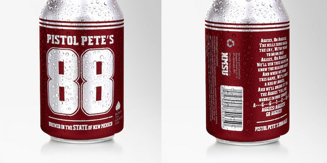 New Mexico State University and Bosque Brewery Co. are launching Pistol Pete???s 1888 Ale, which will be available on tap at the brewery???s Las Cruces taproom at 901 E. University Ave. beginning Aug. 25, and at the first Aggie home game on Sept. 16 at Aggie Memorial Stadium. Cans of the ale will be available statewide after the beginning of the new year. The cans??? design, which was developed at NMSU, is pending federal approval. (NMSU photo) AUG17