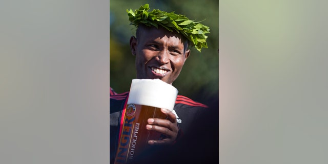 Medalists at the Berlin Marathon, like Geoffrey Mutai of Kenya, seen here in 2012, are often given non-alcoholic beer upon completion of the event.