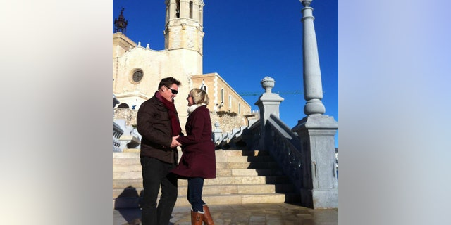 Caryn and her husband Matt O'Hara at a church in Sitges, Barcelona, Spain, where they planned on getting married before she fell ill