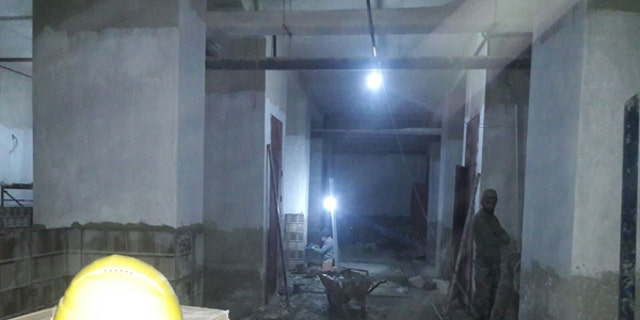 Construction work on Avicenna Womens and Children's Hospital in Idlib