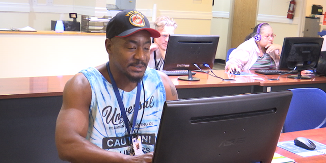 Benjamin Dupree sits at a veterans career services center in Las Vegas. He served in the U.S. Marine Corps during Operation Desert Storm.