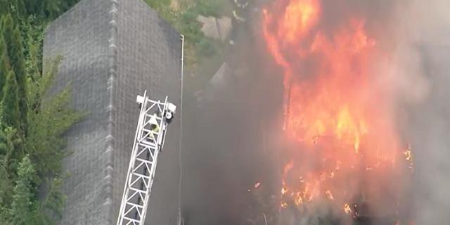 Bensalem home engulfed by flames. (SKYFOX)