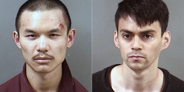 Arrested protesters David Chou and Freddy Martinez.