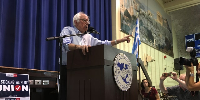 """In his speech, Vermont Sen. Bernie Sanders blasted President Trump, saying: """"We have a president, and I say this with no joy in my heart, who is a pathological liar."""""""