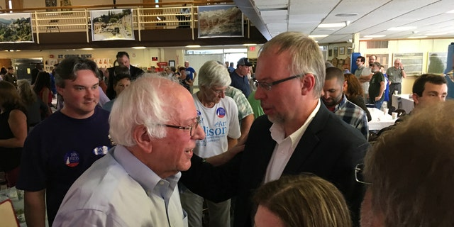 Vermont Sen. Bernie Sanders and his son, Levi, in New Hampshire.