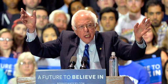 Democratic presidential candidate, Sen. Bernie Sanders, I-Vt., speaks to a gathering of supporters during a campaign rally at the Lexington Convention Center, Wednesday, May 4, 2016, in Lexington Ky. (AP Photo/Timothy D. Easley)