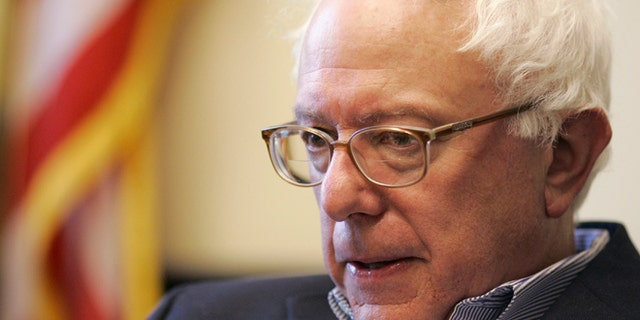 Nov. 28, 2006: Senator-elect Bernie Sanders, I-Vt., is interviewed by a Reuters reporter at Sanders' office in Burlington, Vt.