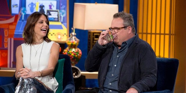 """Real Housewives of New York City's"" Bethenny Frankel (left) and ""Modern Family"" actor Eric Stonestreet appear on ""Watch What Happens Live."""