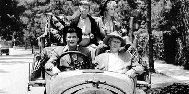 """Beverly Hillbillies"" cast: Max Baer, Irene Ryan, Donna Douglas and Buddy Ebsen, Granny, Ellie Mae and Jed Clampett."