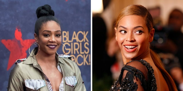 Tiffany Haddish, left, claims an unidentified actress bit Beyonce in the face at a party.