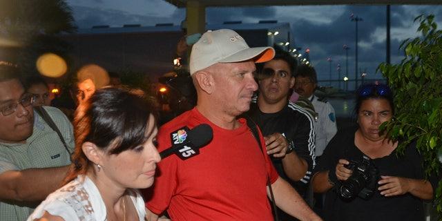 Hugo Carvajal arrives at the Queen Beatrix International Airport in Oranjestad, Aruba,  Sunday July 27, 2014.