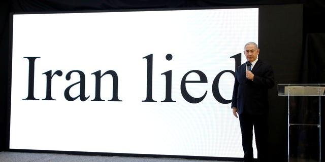 Israeli Prime minister Benjamin Netanyahu speaks during a news conference at the Ministry of Defence in Tel Aviv, Israel April 30, 2018.