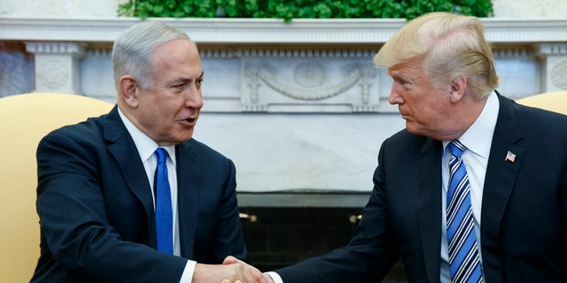 President Donald Trump meets with Israeli Prime Minister Benjamin Netanyahu in the Oval Office of the White House, Monday, March 5, 2018, in Washington.