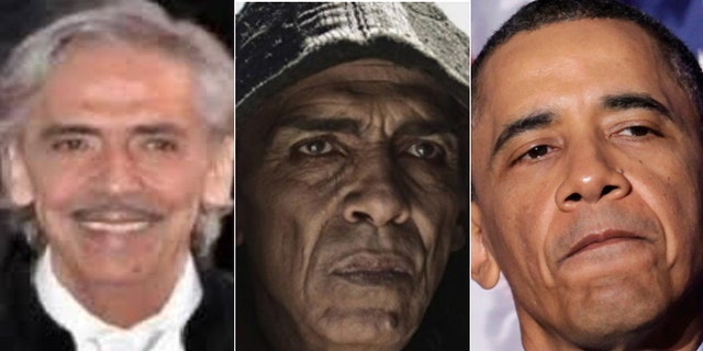 Some viewers said it looked like actor Mehdi Ouzaani (left) was made up to look like President Obama (right) for his role as Satan (center).