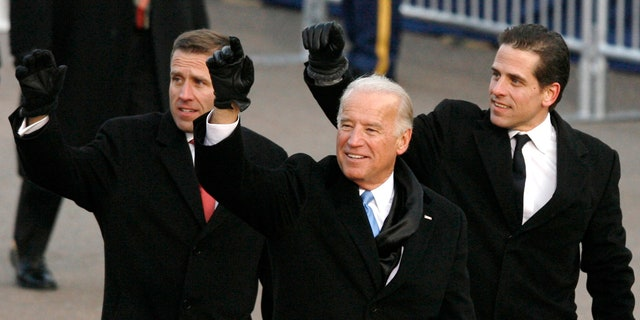 Fox news today: Then-U.S. Vice President Joe Biden walks with his sons Beau (L) and Hunter (R) down Pennsylvania Avenue during the inaugural parade in Washington January 20, 2009.
