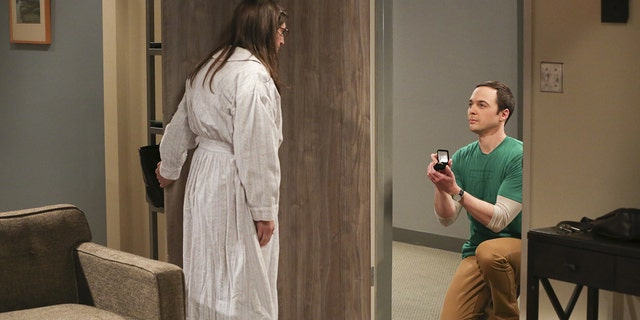 """""""The Long Distance Dissonance""""-- Pictured: Amy Farrah Fowler (Mayim Bialik) and Sheldon Cooper (Jim Parsons). The gang is concerned when Sheldon's former admirer, Dr. Ramona Nowitzki (Riki Lindhome), resurfaces while Amy is away at Princeton, on the 10th season finale of THE BIG BANG THEORY, Thursday, May 11 (8:00-8:31 PM, ET/PT) on the CBS Television Network. Photo: Michael Yarish/Warner Bros. Entertainment Inc. © 2017 WBEI. All rights reserved."""