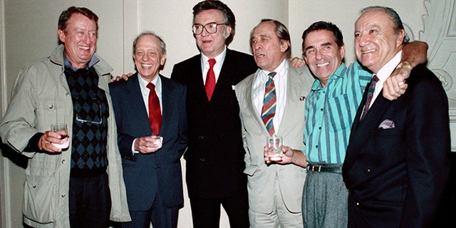 "FILE - In this Oct. 4, 1990 file photo, Steve Allen, third from left, and some of the original cast members of the popular 1950's television show, ""Steve Allen Show,"" from left: Tom Poston, Don Knotts, Allen, Louis Nye, Pat Harrington Jr., and Bill Dana appear in Beverly Hills, Calif. Dana, a comedy writer and performer who won stardom in the 1950s and '60s with his character Jose Jimenez, has died. He died Thursday, June 15, 2017, at his home in Nashville, Tenn., according to Emerson College, his alma mater. He was 92. (AP Photo/Kevork Djansezian, File)"