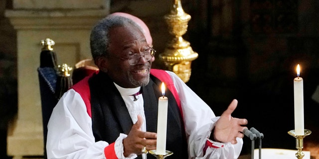 The Most Rev. Bishop Michael Curry, primate of the Episcopal Church, gives an address during the wedding of Prince Harry and Meghan Markle in St. George's Chapel at Windsor Castle in Windsor, Britain, May 19, 2018.