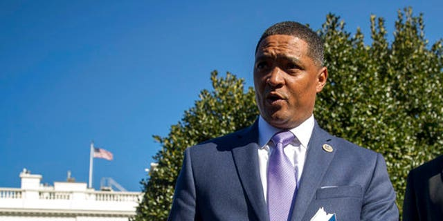 n this March 22, 2017, photo, Rep. Cedric Richmond, D-La., the chairman of the Congressional Black Caucus speaks to members of the media at the White House in Washington.