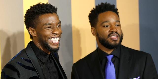 """Chadwick Boseman and Ryan Coogler at """"Black Panther"""" screening."""