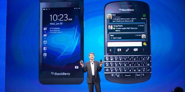 Jan. 29, 2013: Blackberry CEO Thorsten Heins presents the BlackBerry Z10 and the BlackBerry Q10.
