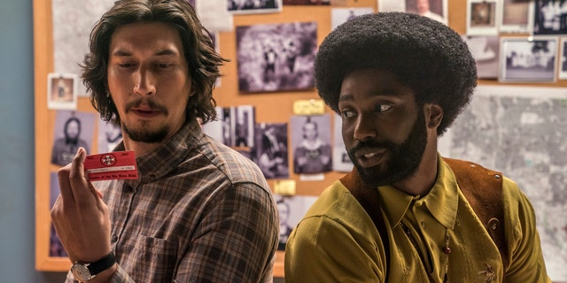 Adam Driver and John David Washington play officers Flip Zimmerman and Ron Stallworth who trick the local KKK into an investigation.