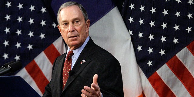 Then-New York City Mayor Michael Bloomberg addresses the media during a news conference at City Hall in New York, Thursday, Jan 28, 2010.
