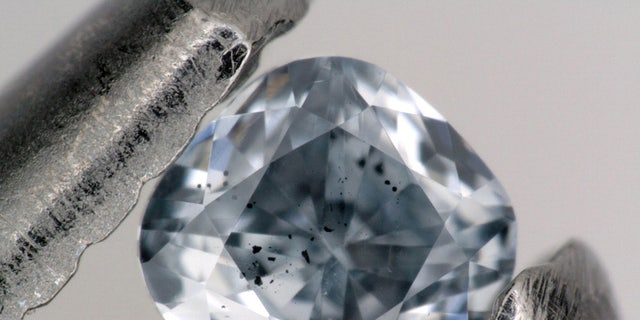 A blue, boron-bearing diamond that was examined as part of the study announced in Nature.