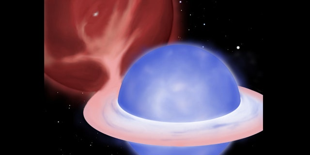 "An artist's concept showing a so-called ""blue straggler"" star stealing mass from its partner in a binary star system. Soon the giant star (upper left) will donate the remainder of its envelope, leaving only a half-solar-mass white dwarf core (shown peeking through the tenuous envelope of the giant) as the companion to the blue straggler."