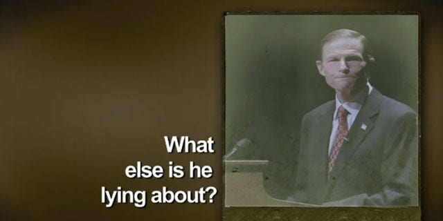Shown here is an image from Connecticut GOP Senate nominee Linda McMahon's ad against Democrat Dick Blumenthal. (YouTube)