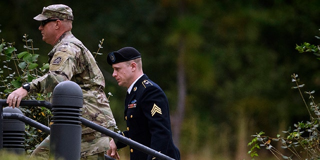 Oct.16, 2017: Sgt. Bowe Bergdahl, right, arrives for a motions hearing at Fort Bragg, N.C.