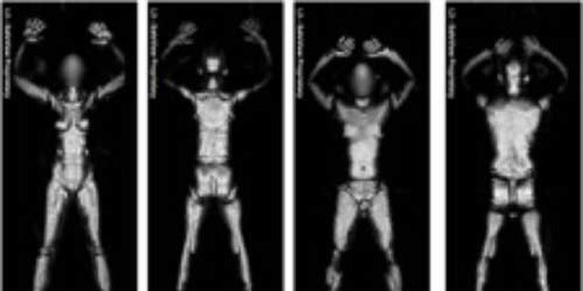 Millimeter wave technology produces whole body images (woman at left, man at right) that reveal what's under your clothes, including Metallic or non-metallic devices and objects are displayed, including weapons, explosives and other items that a passenger is carrying on his/her person.